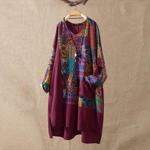 Print Women Blouse Top O Neck blouses Plus Size autumn Long Sleeve Cotton Linen Shirt kimonos mujer moda 2020 blusas elegantes