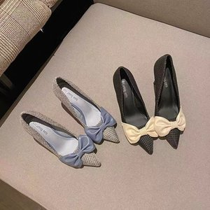 986-2 high heels women's stiletto small fragrant style spring and autumn 2020 new bow shallow mouth pointed single shoes