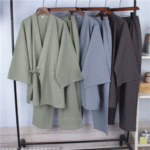 Japanese Style Pajamas Cotton Linen Stripe Bathrobe Homewear Sleep Yukata for Adult Summer Thin Robe Clothing Pant Set 201113