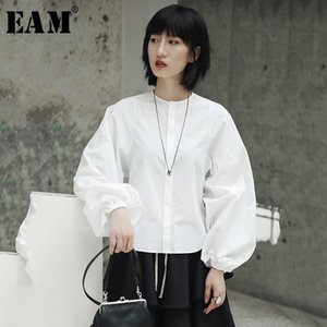 [EAM] New Spring Summer Stand Collar Long Lantern Sleeve Temperament White Loose Shirt Women Blouse Fashion Tide JI516 201027