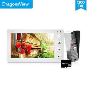 Dragonsview Blanc Vidéo Interphone Kit 7 pouces Moniteur porte vidéophone Interphone 1200TVL Enregistrement 16 Go Talk carte SD