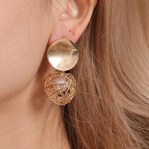 et de femmes européennes bijoux American Retro géométrique Boucles d'oreilles Minimaliste tissé boule perle Stud Accessoires Métal Femme