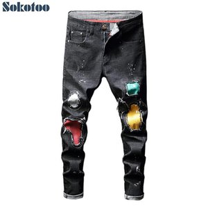 Sokotoo Men's trendy colored patchwork painted stretch jeans Fashion skinny pencil pants