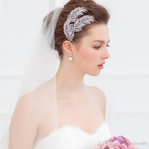 NEW Alloy leaf water drill headgear, European and American brides hair combs, wedding dress accessories 11