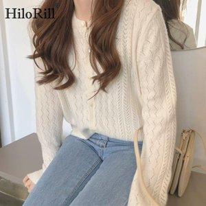 Hilorill elegante o collo maglione donna scava fuori cardigan 2021 manica lunga chic cardigan a maglia cardigan singoli tuta sportiva