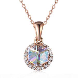 Elegante lindo colar de elementos de Swarovski Crystal S925 Sterling Silver Cubo Candy Duplo Pendurado Pingente Colar Mulheres Presente Potala290