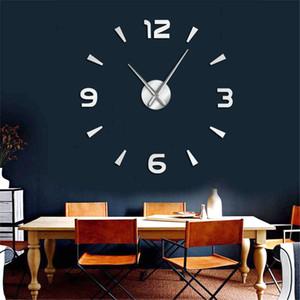 Home Decor Modern School Big Interior Relógio Kit Wall Art Frameless parede Assista Grande DIY Relógio de parede Mute Espelho Adesivos Escritório