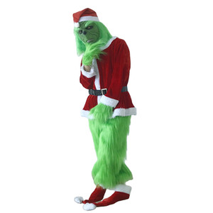 Costume Grinch pour hommes 7pcs Christmas DeLeasel Deluxe Furry Adult Santa Suit Vert Tenue Vert Dult Vert Christmas Monster Deluxe Costume
