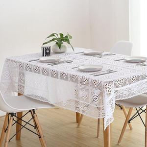 Noel Wedding Banquet için Hollow Pamuk El yapımı Tığ Tablecloth Yıkanabilir Kahve Akşam Rahat Masa Örtüsü