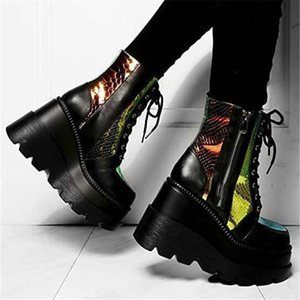 Fashion Demonia Boots For Women 2021 Ladies Shoes Lace-up Side Zipper Increased Goth Platform Boots Punk Shoes Woman Ankle