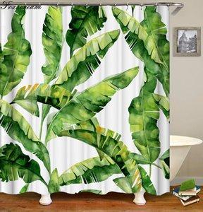 Hoja Cortinas de baño Tropical cortina de ducha de poliéster tejido impermeable de baño verde hojas verdes cortina de ducha