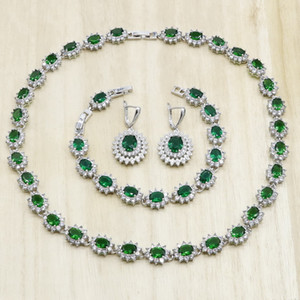 Green Crystal Silver Color Jewelry Sets for Women Necklace Earrings Bracelet Wedding Bridal Jewelry