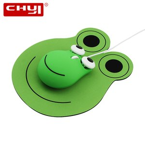 Chyi Netter Frog Design Wired Mouse USB-optischer Computer 1600 DPI 3D Mini mit Mausunterlage für Geschenk