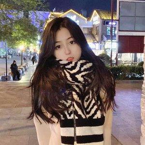 Kadın Kore geometrik grafik örgü yün öğrenci sıcak eşarp sonbahar kış şal