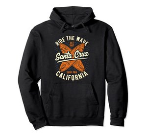 Santa Cruz Ride The Wave Summer Surf Surfer Girl Pullover Hoodie Unisex Size S-5XL with Color Black Grey Navy Royal Blue Dark Heather