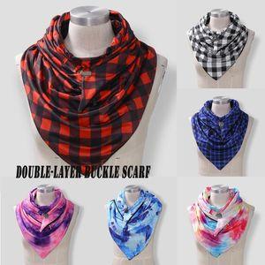 Fashion Tie-dye Plaid Printing Scarf Women Autumn Winter Warm Windproof Wraps Double-layer Buckle Scarf Button Soft Wrap Shawls