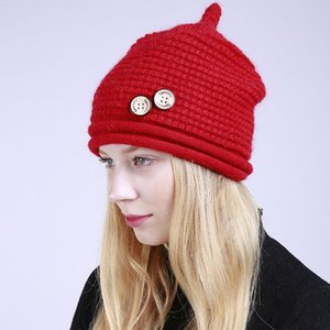 Plus Fluff Hat Womens Winter New Solid Color 2 Button Knitted Wool Fashionable Warm Pullover Hat Womens Hat