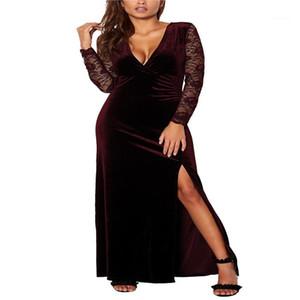 Womens Designer Deep V Neck High Waist Velvet Split Dress Fashion Elegant Solid Color Women Sexy Long Dresses Lace Party Dresses