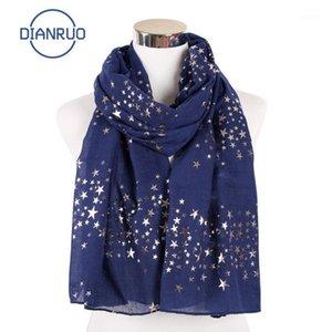 Dianruo 2020 Yeni Beş Sivri Yıldız Eşarp Gökyüzü Yıldız Baskı Desen Yaldızlı Eşarp Ince Şal Müslüman Hijab Dianruo Q3261