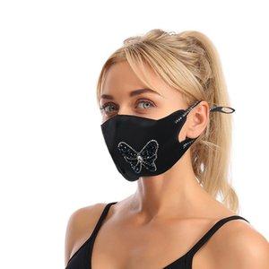Rhin Noir Facemask Stone Love Coeur Motif papillon adulte Masques Masque réglable Corde Protéger réutilisable pliable 9 25jy G2