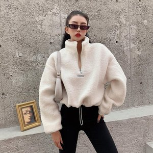 Women Fleece Solid Fuzzy Crop Top Casual Loose Black White Grey Sweatshirts Drawstring Hem Faux Fur Zip Front Baggy Pullovers