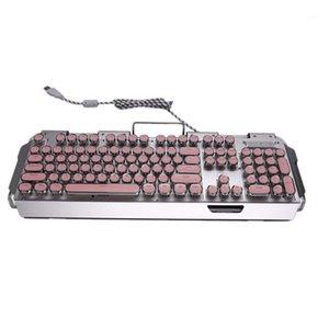 X10 Mechanical Keyboard, Punk Round Retro Keycap Wired Mechanical Keyboard, Multiple Lighting Effects Keyboard1