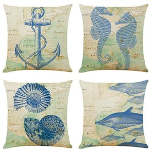Creative Marine Life Linen Cushion Covers Home Office Sofa Square Pillow Case Decorative Pillow Covers Without Insert (18*18Inch)