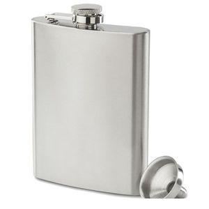 Boom Fashion 8oz Stainless Steel Pocket Hip Flask Retro Whishkey Flask Liquor Screw Cap Includes Free Bonus Funnel and Black Gift