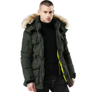 Winter fur long coat hat detachable thick coat men's coat windshield pocket park men's fashion clothing