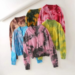 European American Sexy Shoulder Slouchy Style Tie-dye Sweater Female Foreign Trade Autumn Winter New Gradual Change Color Pin Loose Sweat