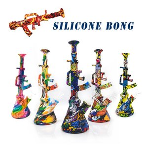 New Shape Silicone bong Removable hookah bongs with glass filter bowl silicone dab rig for smoke unbreakable shisha water pipe dab rig