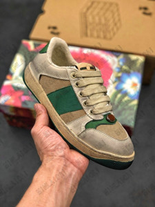 Embroidered Distressed Dirty Leather Screener Ace Green Red Stripe Italy Sneakers Designer Trainers Lace Up Low Cut Casual Shoes