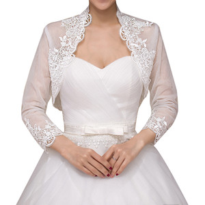 Red White Lace Jacket Wedding Bridal Three Quarter Sleeve Embroidered Lace Jacket Women's Lace Cape Wrap