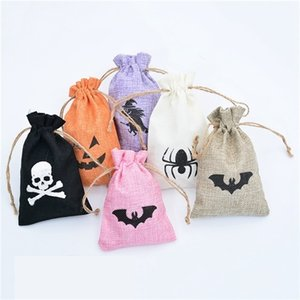 Christmas Halloween Canvas Gift Candy Wrap Drawstring Bags Xmas kids Gifts Pouch Santa Snowman Witch Pumpkin Decorations RRA1971