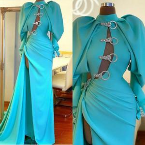 High Neck Blue Evening Dresses Long Sleeves Side Split Mermaid Prom Dress Custom Made Red Carpet Gowns