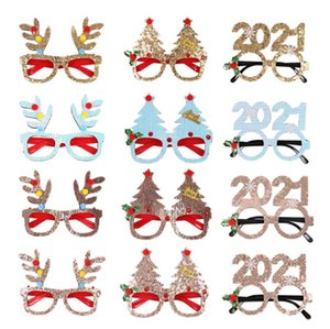 Santa Eye Sunglasses Novelty Tree Deer Ear Glasses Frame Photo Props Xmas Fancy Dress Christmas Party Wear