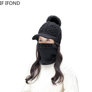 2020 New Winter Warm Beanie Hat Women Velvet Thick Knit Hat Skullies Beanie Hats Outdoor Riding Sets
