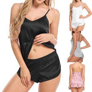 2020 Женщины Сексуальный Безтернистый Боди Симулирование Шелковые Тонкие Пижамы Установите V-образным вырезом Камизол Без рукавов Шорты Спящего износа