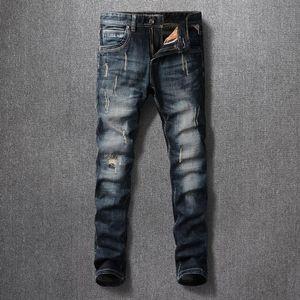 Style italien Mode Hommes Jeans Designer Vintage Slim Fit Denim Denim Pantalon Pantalon Streetwear Retro Black Blue Hip Hop Pants
