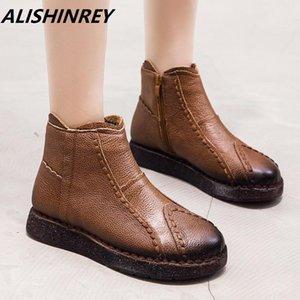 ALISHINREY Women Retro Boots Handmade Ankle Boots Genuine Leather Flat Comfort Soft bottom Female Casual Shoes Women