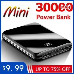 30000mAh Power Bank Mini Mirror Screen Digital Display Portable Phone Battery Ultra-thin Power Bank for iPhone 5 6 8 X Free Shipping