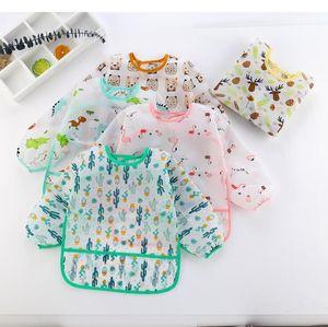 Baby Bibs Cartoon Print Burp Clothes Feeding Bib Anti-Dirty Waterproof Saliva Towel Cute Detachable Infant Food Clothing Pinafores GWC4217