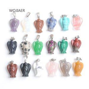 WOJIAER 10pcs lot Angel Pendant Energy Natural Opal Quartz Stones Bead Reiki for DIY Necklaces Trendy Women Jewelry DBM032