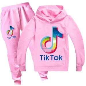 Youth TIK TOK Hoodies and Fashion Sweatpants Tracksuit for Boys Girls Tiktok Kid Hooded print Sweatshirt+Pant 2PC Sport Suit 13 colors