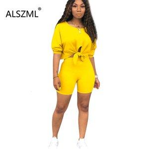 Estate di usura vestiti delle donne O-collo Lace-up Short Top e pantaloncini stretti insieme delle 2 parti di modo semplice di sport Suit