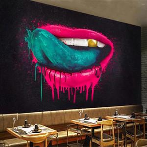 Custom Mural Wallpaper Creative Abstract Graffiti Mouth Tongue Bar KTV Cafe Restaurant Living Room Sofa Background Wall Painting