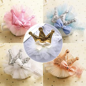 2020 nueva joyería de Headwear 1PC Flores corona azul de gasa de encaje de oro White Girls Rose Red Bowknot de Paillette niños Coreano rosado