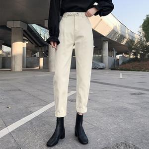 Guuzyuviz de cintura alta Jean Femme floja ocasional de la vendimia Denim Pantalones mamá Negro Plus tamaño de bolsillo Jeans