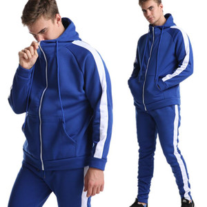 Spring and autumn men's new fashion hoodie sweatshirt suit + sweatpants suit casual jogging patchwork hooded jacket