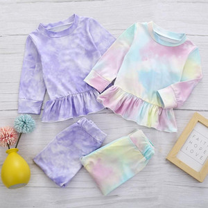 2020 New Ins Baby Tie Dye Clothing Set Kids Long Sleeve Ruffled Top + Pants 2Pcs Set Boutique Soft Cotton Infants Outfits
